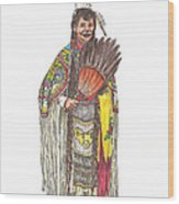 Native American Woman Wood Print