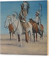 Native Americans On Horseback Wood Print