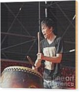 Native Drummer Performs In Taiwan Wood Print