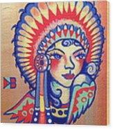 Native Girl Wood Print