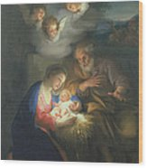Nativity Scene Wood Print by Anton Raphael Mengs