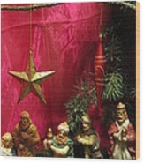 Nativity Scene In Red Wood Print