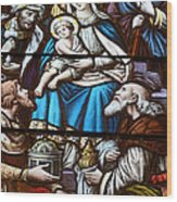 Nativity Stained Glass Wood Print