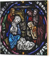 Nativity With Shepherds Wood Print
