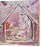 Nativity With Two Angels Wood Print