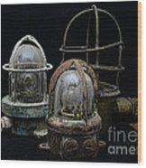 Natuical - Vintage Ship Deck Lights Wood Print