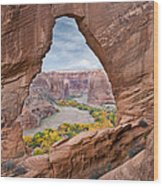 Natural Arch And River Valley Canyon De Wood Print