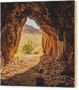 Natural Cave Above The Valley Of Fire Wood Print
