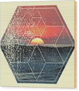 Nature And Geometry - Sunset At Sea Wood Print