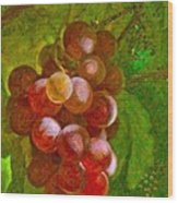 Nature Goodness Grapes On The Vine Wood Print