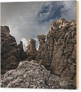 A Stunning Rock Wall Becomes A Wild Nature Sculpture In North Coast Of Minorca Europe Wood Print