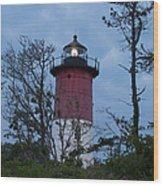 Nauset Lighthouse Amid The Scrub Pines Wood Print