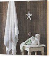 Nautical Bathroom Wood Print
