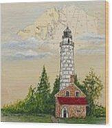 Nautical Chart Cana Island Lighthouse Wood Print
