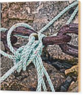 Nautical Lines And Rusty Chains Wood Print