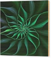 Nautilus Fractalus Verdant Green Wood Print