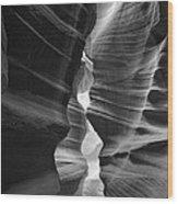 Antelope Canyon Black And White Wood Print