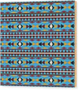 Navajo Blue Pattern Wood Print