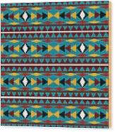 Navajo Teal Pattern Wood Print