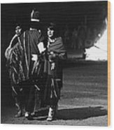 Navajo's Dance  Night Fire Rodeo Grounds Inter-tribal Indian Rodeo Gallup New Mexico 1969 Wood Print