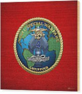 Naval Special Warfare Group Four - N S W G-4 - On Red Wood Print