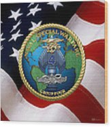 Naval Special Warfare Group Four - N S W G-4 - Over U. S. Flag Wood Print