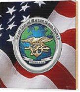Naval Special Warfare Group Three - N S W G-3 - Over U. S. Flag Wood Print