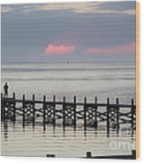 Navarre Beach Sunset Pier 17 Wood Print