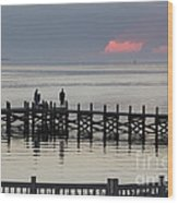 Navarre Beach Sunset Pier 18 Wood Print