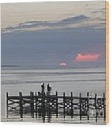 Navarre Beach Sunset Pier 22 Wood Print