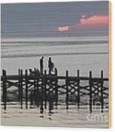 Navarre Beach Sunset Pier 25 Wood Print