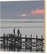 Navarre Beach Sunset Pier 27 Wood Print