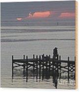 Navarre Beach Sunset Pier 29 Wood Print