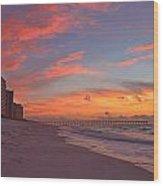 Navarre Pier And Navarre Beach Skyline At Twilight Wood Print