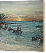 Navy Beach Seaside Sunset Wood Print