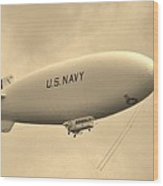 Navy Blimp Wood Print