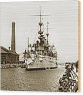Navy Cruiser Uss New York Going Into Dry Dock San Francisco Circa 1903 Wood Print