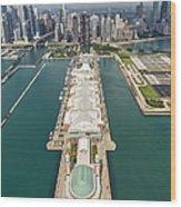 Navy Pier Chicago Aerial Wood Print by Adam Romanowicz
