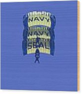 Navy Seal Leap Frogs 3 Vertical Parachutes Wood Print