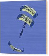 Navy Seals Leap Frogs One Upside Down Wood Print