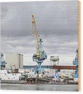 Navy Yard Cranes Wood Print