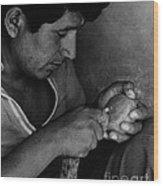 Nazca Stone Cutter Wood Print