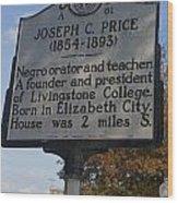 Nc-a61 Joseph C. Price 1854-1893 Wood Print