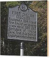 Nc-b1 First English Colonies Wood Print