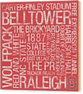Nc State College Colors Subway Art Wood Print