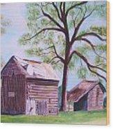 Nc Tobacco Barns Wood Print