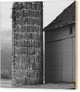 Near Infrared Old Michigan Barn With Silos Bw Usa Wood Print