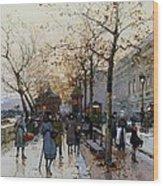Near The Louvre Paris Wood Print by Eugene Galien-Laloue