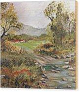 Near The River Wood Print