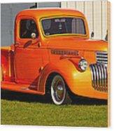 Neat Vintage Chevrolet Truck In Bright Orange Wood Print